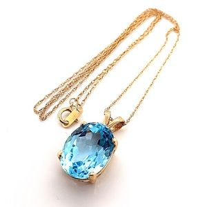 14kt Yellow Gold Natural Blue Topaz Necklace 18""